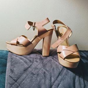 Levity Cortez platform sandals wood & leather NWOT